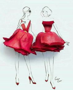 Artist Uses Real Flower Petals to Create Blossoming Fashion Illustrations - Floral Dresses Fashion Illustrations by Grace Ciao Source by Dancubus - Arte Fashion, 3d Fashion, Flower Fashion, Dubai Fashion, Grace Ciao, Fashion Design Drawings, Fashion Sketches, Art Floral, Flower Petals