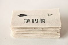 Flèche étiquettes en tissu imprimé, étiquettes à coudre coton bio