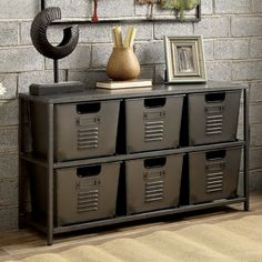 The Furniture of America Eldo Industrial Style 6 Bin Storage Case brings strong elemental style to your décor with a sturdy metal construction. Metal Storage Shelves, Industrial Storage, Industrial House, Bin Storage, Industrial Metal, Industrial Boys Rooms, Industrial Style Bedroom, Industrial Basement, Industrial Living Products