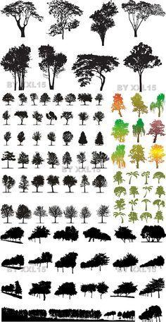 Tree Silhouettes Vector   Free Vector Graphics & Art Design Blog