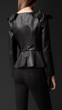 Knotted Shoulder Leather Jacket   Burberry
