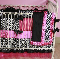 pink stuff | Zebra Patch Custom Crib Bedding | Baby Boutique | Custom Girls Crib ...