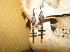 Skull and Cross Earrings with Niobium Hooks by BeadToLive on Etsy, $12.00