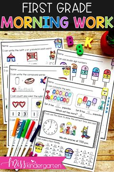 Need first-grade morning work for June? These activities can easily be filed away in your morning work binder or files or collated into a fun packet full of reading, writing, and math skills! Also great to send home as summer practice worksheets! #morningwork #ideas