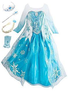 f73a073d849bd Eleasica Petites Filles Robe Longue Déguisements Manches Longues Princesse  Elsa Reine des Neiges Costume et Accessoires Diadème Gants Baguette Magique  et ...