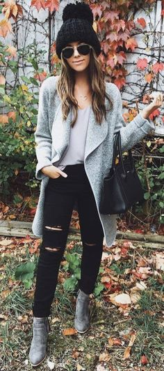Cool Winter Outfit Hat Plus Grey Coat Plus Top Plus Bag Plus Boots Plus Black Rips