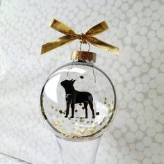 Gold flake glitter and a shiny ribbon make this terrier even merrier. (Bow-o-wow!) #etsyfinds