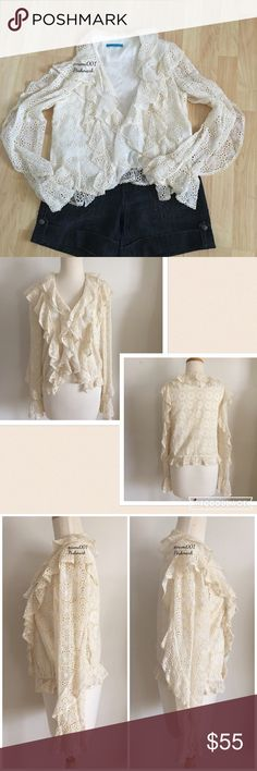 """Alice and Olivia Ruffled Bohemian Lace Jacket This adorable bohemian off white (more like a cream colored) ruffled lace jacket is perfect to elevate your fashionista style. Wore a couple of times and is in EUC with no rips or stains. Pair with shorts to make your fashion stand out. Measures: 18"""" underarm to underarm, 21"""" length (shoulder to hem). Shell is 100% silk & lining is made of 95% silk & 5% spandex. Dry cleaning only. Cute pearl button detail. No size tag so please see measurements…"""