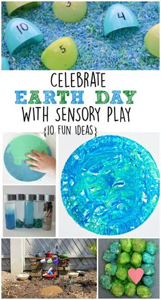 Celebrate Earth day with sensory play. 10 fun sensory play activities for an Earth day theme help kids get their hands messy, learn, and explore the earth!