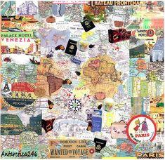 Travel Collage: Handmade traditional collage. This piece was used as the book cover artwork for the German Publication, Der Kosmopolit *** 19,000 *** views**