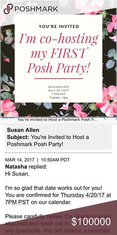 🎉 POSH PARTY! 4/20/2017 7 pm 🎉💕✨👯😘🎈 SO excited to co-host my very FIRST posh party and celebrate with all of you! Please like & share this listing to receive notifications and be considered for a host pick! Posh compliant closet only! Accessories