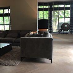 Modern cozy interior, herringbone flooring