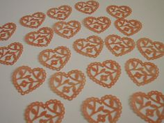 20 Scalloped Lace Heart Punch Die CutsPeach by TomaCraftPlace, $4.75