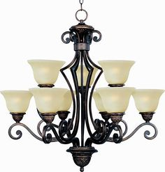 "Pyramid Creations Symphony 32"" Oil Rubbed Bronze 9-Light Multi-Tier Chandelier"