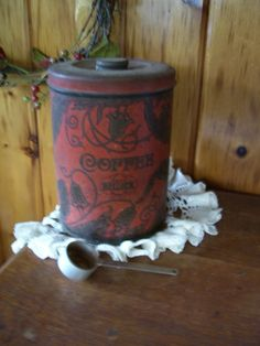 Rustic Country Antique Ornate Hellick Coffee Tin Canister & Scoop!