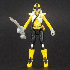 "Power Rangers Super Samurai Earth Yellow MEGA RANGER 4"" Action Figure MMPR  #Bandai"