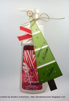 Christmas tree gift tag made out of a sample paint card - genius!!