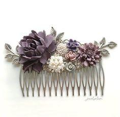 Lavender Wedding Comb Violet Bridal Hair Clip Purple by Jewelsalem