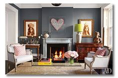 "Paint color is Benjamin Moore ""Chelsea Gray"" Brooke Shield& NY li. Paint color is Benjamin Moore ""Chelsea Gray"" Brooke Shield& NY living room Benjamin Moore Chelsea Gray, Architectural Digest, Canapé Design, House Design, 2017 Design, Design Ideas, Wood Design, Design Trends, Living Room Decor"