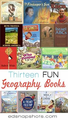 """TRAVEL THE WORLD. No passport required. Thirteen FUN Geography Books for Kids. Could be fun to post a map and post each """"stop"""" made through books. Geography For Kids, Teaching Geography, World Geography, Geography Activities, Geography Lessons, Reading Adventure, Teaching Social Studies, Kids Reading, Reading Lists"""