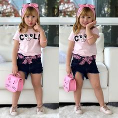 Baby Girl Clothes Cute Cotton T-Shirt Tops Denim Short Pants Bowknot Headband Outfits Cute Toddler Girl Clothes, Toddler Girl Outfits, Kids Outfits, Little Girl Outfits, Cute Little Girls, Moda Kids, Designer Baby Clothes, Kids Wear, Baby Dress