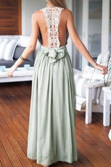 Plunging Neck Lace Splicing Backless Dress