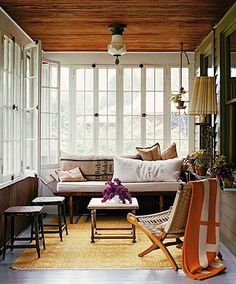 white walls & wood ceiling - a nice way to lighten up a room