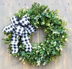Boxwood Wreath for Front Door, Everyday Wreath, Year Round Wreath, All Season Outdoor, Buffalo Plaid Greenery Wreath, Boxwood Wreath, Grapevine Wreath, Front Door Decor, Wreaths For Front Door, Door Wreaths, Wreath Bows, Diy Wreath, Tobacco Basket Decor