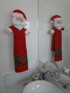 Porta toalha Papai Noel em Feltro