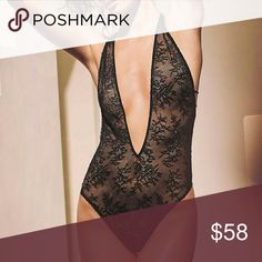 VS Black Bandage Back Lace Teddy This stunning teddy features a bandage style strappy back and full lace. This piece has a plunge v-neck and the straps are adjustable. This is brand new from the distributor with tags attached. (Note: Last photo for fit and style only, color is not the same. First photo is identical to the piece.) (#5VSP8) Victoria's Secret Intimates & Sleepwear Chemises & Slips