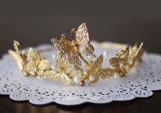 Golden Butterfly Head Crown Wedding Hair Accessory with Faux Pearl Accents by LAmei on Etsy