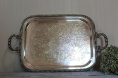 Vintage Embossed  Silver Plate Footed Tray with Double Handles by Lehman Brothers Silverware Corporation by CottageBlu on Etsy