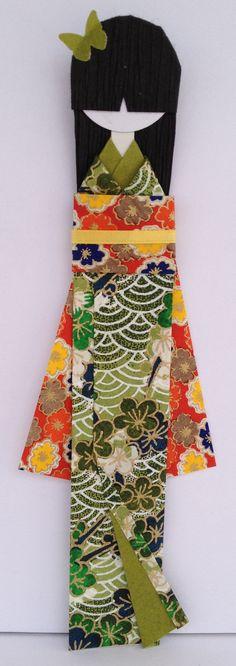 絵理 Eri (Blessed Prize) Japanese Washi Paper Bookmark Doll mounted on card-stock.