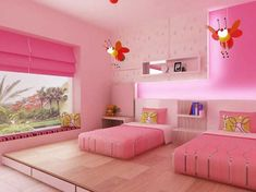 Twin girls room decorating ideas are beautiful and attractive look. Individual spaces, created by design and specific furniture arrangements, help keep the peace, that's why you need these twin girls room decorating ideas. Twin Girl Bedrooms, Pink Bedroom For Girls, Pink Bedrooms, Pink Room, Kids Bedroom, Bedroom Decor, Bedroom Ideas, Twin Girls, Wall Decor