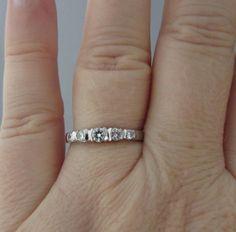 Vintage 14K White Gold Diamond Wedding Band  Gorgeous by Ringtique, $445.00