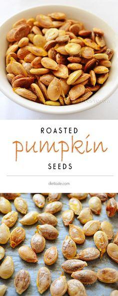 Roasted Pumpkin Seeds - easy and healthy homemade snack - diettaste.com (scheduled via http://www.tailwindapp.com?utm_source=pinterest&utm_medium=twpin&utm_content=post754875&utm_campaign=scheduler_attribution)