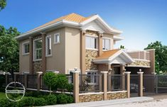 This fascinating Romualdo – elegant Filipino expression of contemporary house celebrates beautiful architectural details, unique angles and fresh look. Two Story House Design, Double Story House, House Front Design, Modern House Design, House Without Garage, Morden House, Filipino House, Two Storey House Plans, Fachada Colonial