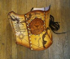 Hard Leather Airship Pirate Map Corset by BruteForceStudios, $329.00