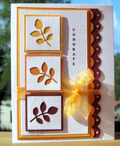 Love the concept of the punched leaves on this Congrats Card! Could use flowers, hearts, etc.