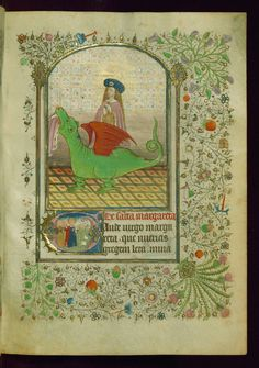 """Book of Hours, St. Margaret issuing from dragon; Initial """"G"""" with St. Margaret guarding sheep, Walters Manuscript W.239, fol. 8r 