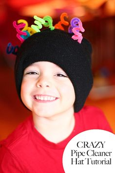 10 minute crazy hat tutorial using pipe cleaners + a plain stocking hat. Great for crazy hat day during Dr. Suess week