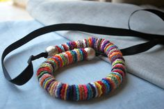 Long Crochet Necklace Multicolor by LavenderField on Etsy