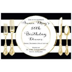 A selection of tasteful birthday invitations chosen by a professional party planner Mary Birthday, 80th Birthday Invitations, Birthday Dinners, Anniversary Parties, Rehearsal Dinners, White Envelopes, Black Stripes, Backdrops, Place Card Holders