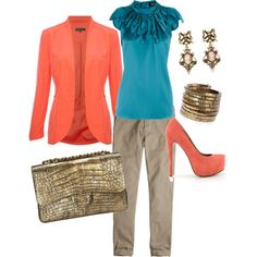 Coral and Teal, created by cosrocksmyworld on Polyvore