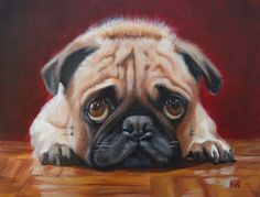 Pug Staring Contest - 9 x 7 Original Oil Painting on Canvas Panel with gloss varnish. $90.00, via Etsy.