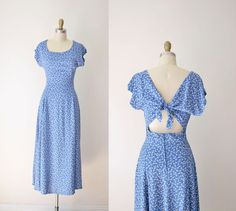 1990s Tie Back Dress / 90s Ditsy Floral Sundress by FemaleHysteria