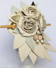 Leather hair stick barrette, hair slide, hair pin with Flowers - colors: Ivory, gray, gold - Small
