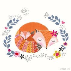 """""""Introducing Mrs Fox and her cub. An illustration we worked on as part of our Mother's Day card collection. We really enjoy creating animal characters as…"""""""