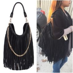 Black hobo fringe bag -Brand new. Hobo fringe handbag -Gold tone hardware -Faux  vegan leather -Decorative chain  -Zipper top closure -Inside zip and open pocket -Dimensions: 14' x 2' x 14' ; drop 5'  Bundle to get even bigger savings! Offers welcome. ❌No trades Boutique Bags Hobos