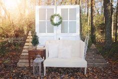 Outdoor Christmas Mini Sessions white doors, cream sofa www.imaginationphotog.com